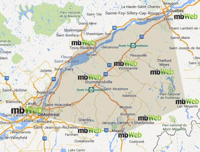 Territoire déservi par mbWeb